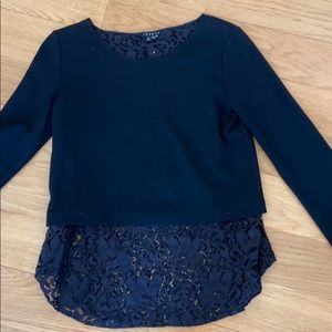 Theory black knit top with lace hem. Size S
